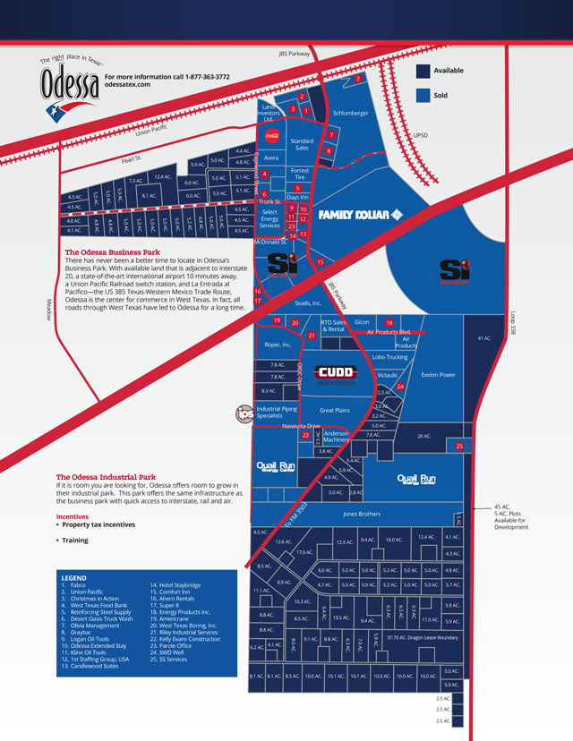 Map of Odessa's Business Park and Industrial Park